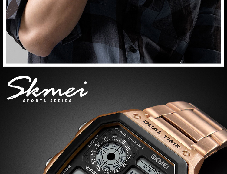 SKMEI Top Luxury Fashion Sport Watch Men 5Bar Waterproof Watches Stainless Steel Strap Digital Watch reloj hombre 1335 HTB1zypUi4PI8KJjSspfq6ACFXXal