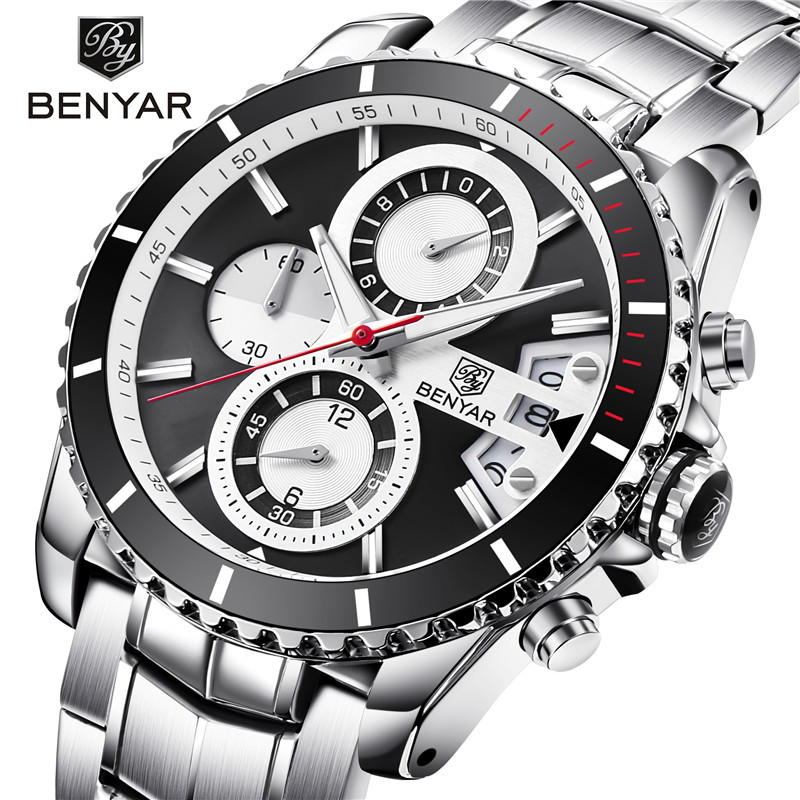 Men fashion Leisure Watch BENYAR Luxury Brand Quartz watch all-steel military sports waterproof men shockproof watch erkek saat цена и фото