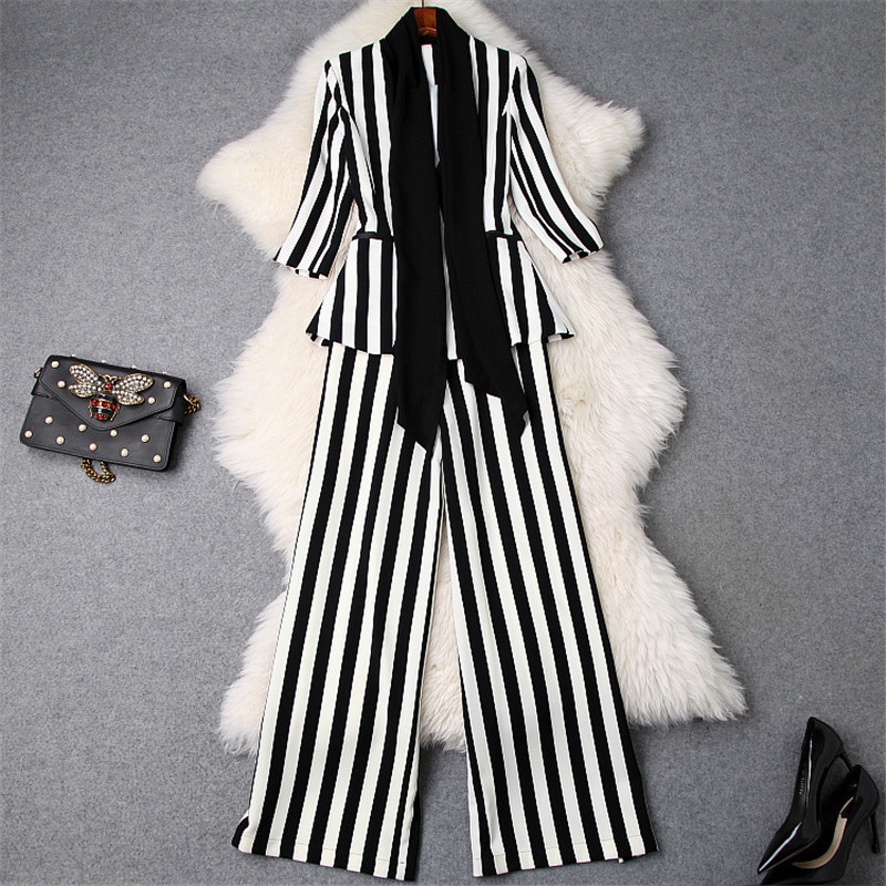 Brand Fashion Spring Lady Office Formal Two Piece Outfits 2019 Women s Elegant White Black Striped