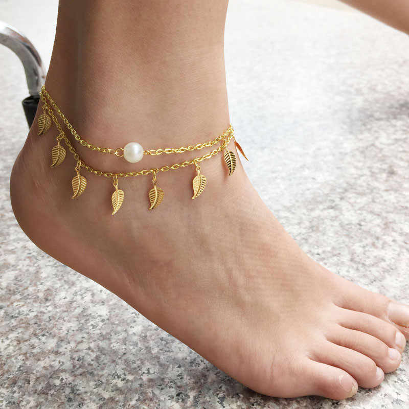 Women Anklets 1PC Sexy Simple Gold Anklet Ankle Bracelet Leaf Foot Chain Adjustable fashion gold ladies Anklet Hot #T