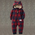 Baby Girls Boys Spring Romper Newborn Winter Red Plaid Hooded Jumpsuit 2017 New Arrived 15E