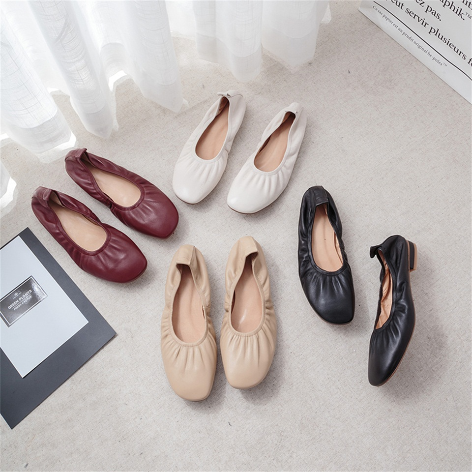 Women 39 s Ballet Shoes High Quality Real Leather Material Soft Inner Comfortable Spring Autumn Women 39 s Shoes in Women 39 s Pumps from Shoes