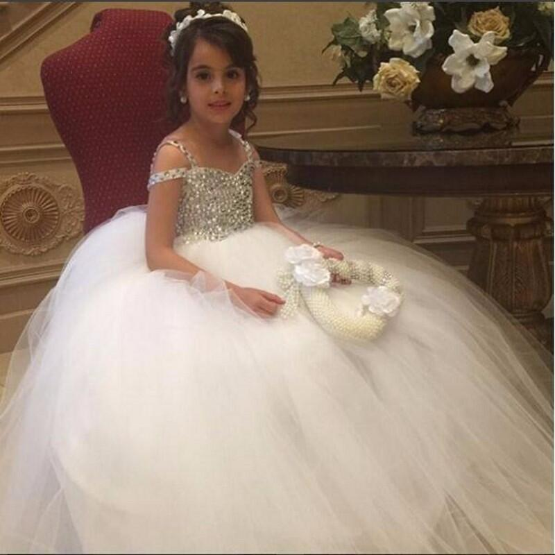 Luxury crystal   Flower     Girls     Dresses   for Weddings First Communion   Dress   for   girls   Kids Evening Gowns Prom   Dress   2019