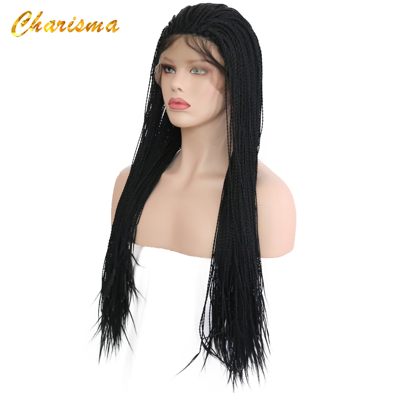 Synthetic Wigs Charisma More Than 500 Braids Synthetic Lace Front Wigs Handmade 24 Box Braids Wigs With Baby Hair For Black Women In Stock Orders Are Welcome.