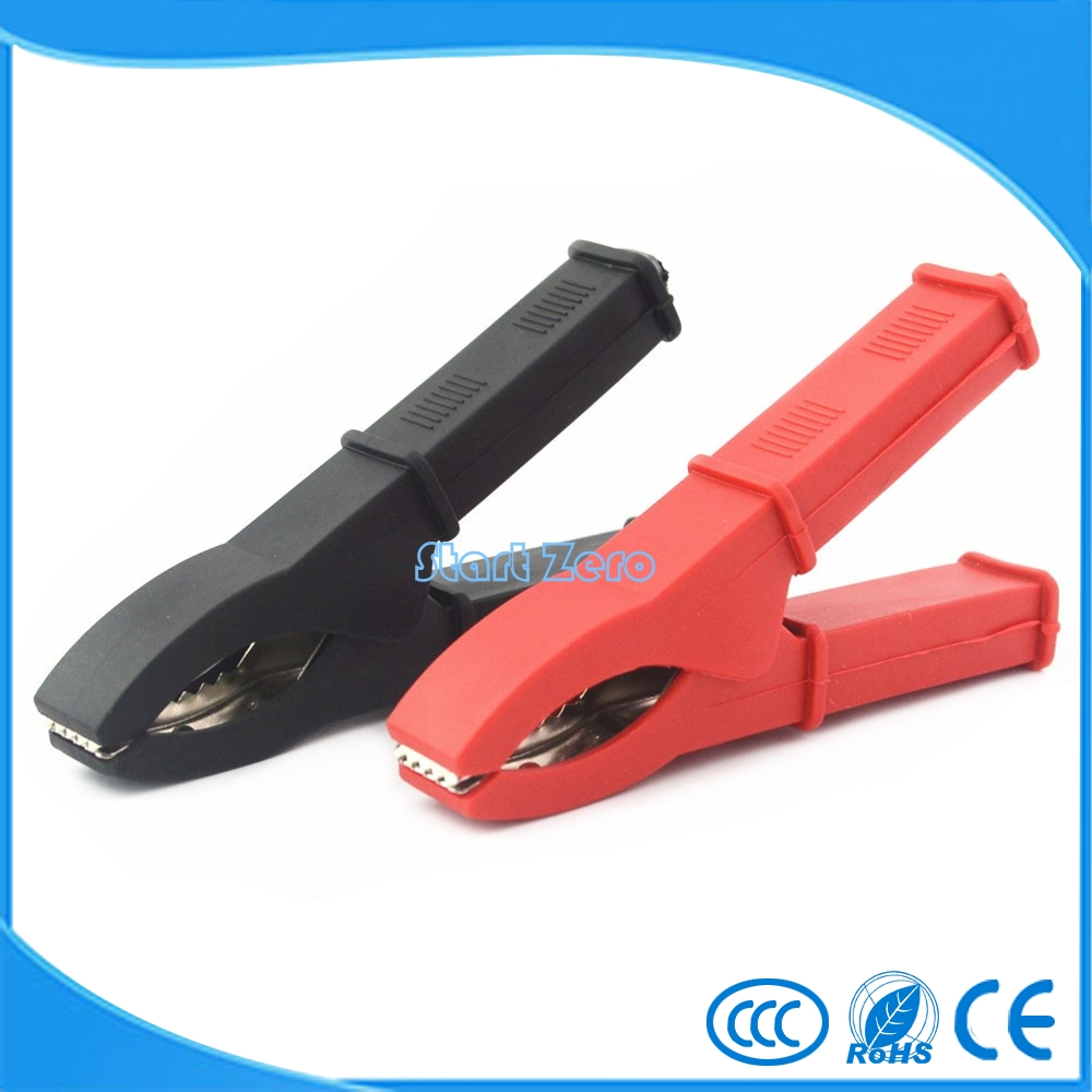 цена на 2 Pcs Fully Insulated Car Battery Alligator Clip Clamp Red/Black Length 100mm