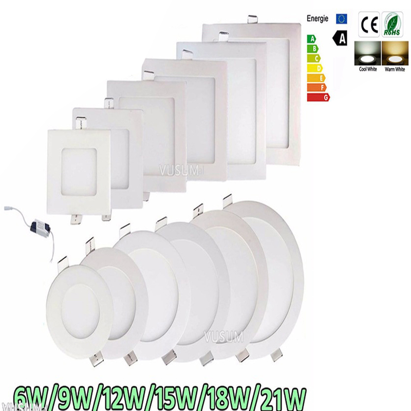 Ultra Thin Led Panel Downlight Ceiling Recessed Light 6W 9W 12W 15W 18W 21W AC85-265V Indoor Lighting Spotlights Led Ceiling