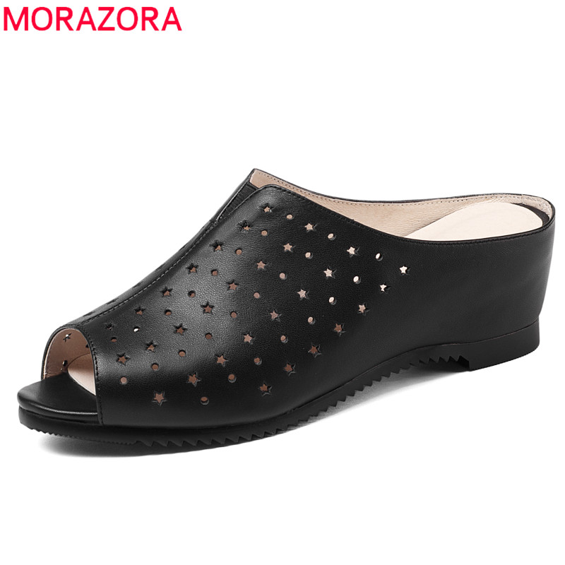 MORAZORA EUR SIZE 34-41 New fashion genuine leather shoes woman slip on wedges women sandals peep toe mules summer lady shoes bohemia plus size 34 41 new fashion wedges sandals slip on elastic band casual platform shoes woman summer lady shoes shallow