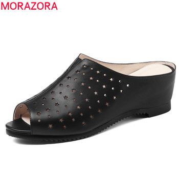 MORAZORA EUR SIZE 34-41 New fashion genuine leather shoes woman slip on wedges women sandals peep toe mules summer lady shoes