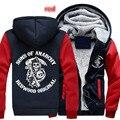 Хлопковые флисовые пальто Sons of Anarchy chaos  свободные зимние мужские толстовки на молнии с принтом  куртка MC  утепленная толстовка