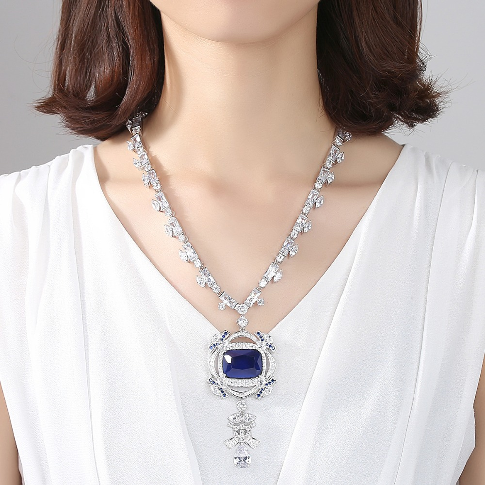 LUOTEEMI océan coeur bleu foncé bijoux collier AAA cubique zircone mariée mariage luxe bijoux grand collier de déclaration cadeau - 3