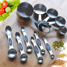 цена на 11 PCS Stainless Steel Measuring Cups Measuring Spoon Eleven Sets of Seasoning Spoon Baking Measuring Cups