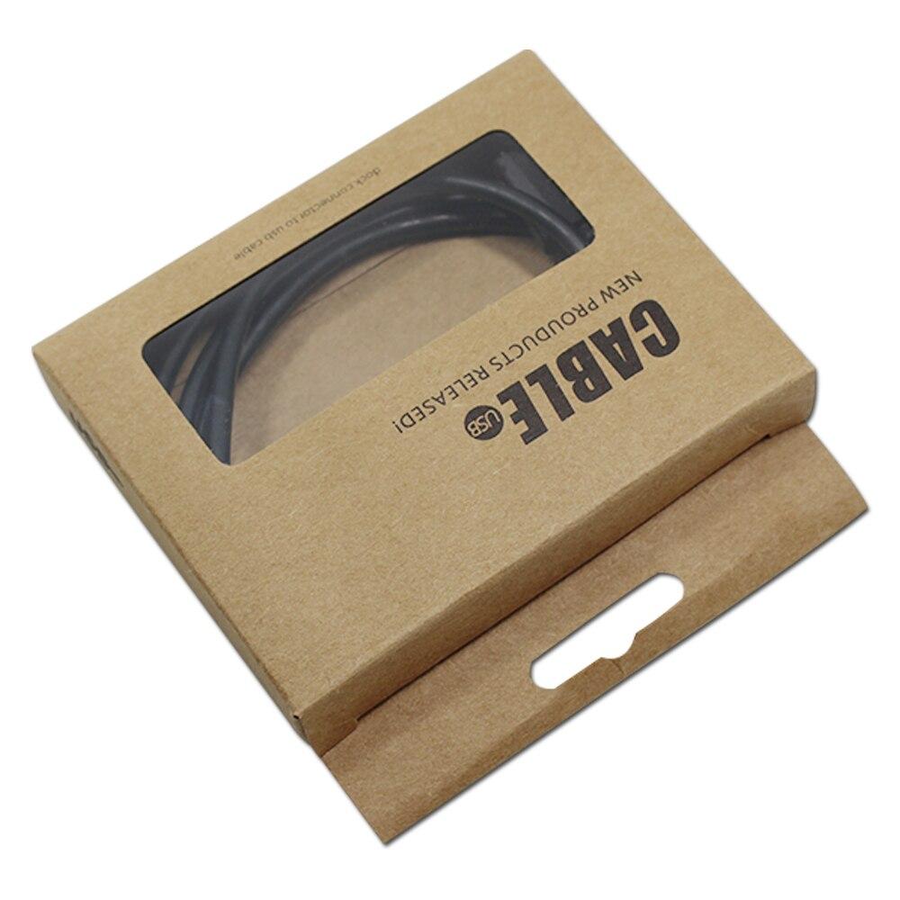 DHL 350 шт./лот 9.5x7.5x1.5 см Дата кабель упаковка картонная Коробки kraft Бумага линии передачи данных упаковочная окна коробка с повесить отверстие