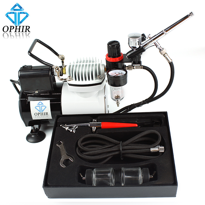 OPHIR Pro Airbrushing Compressor with Fan and 0.3mm & 0.8mm Airbrush Kit for Hobby Cake Decoration _AC114+AC004A+AC050 ophir cake airbrush kit with air compressor edible pigment