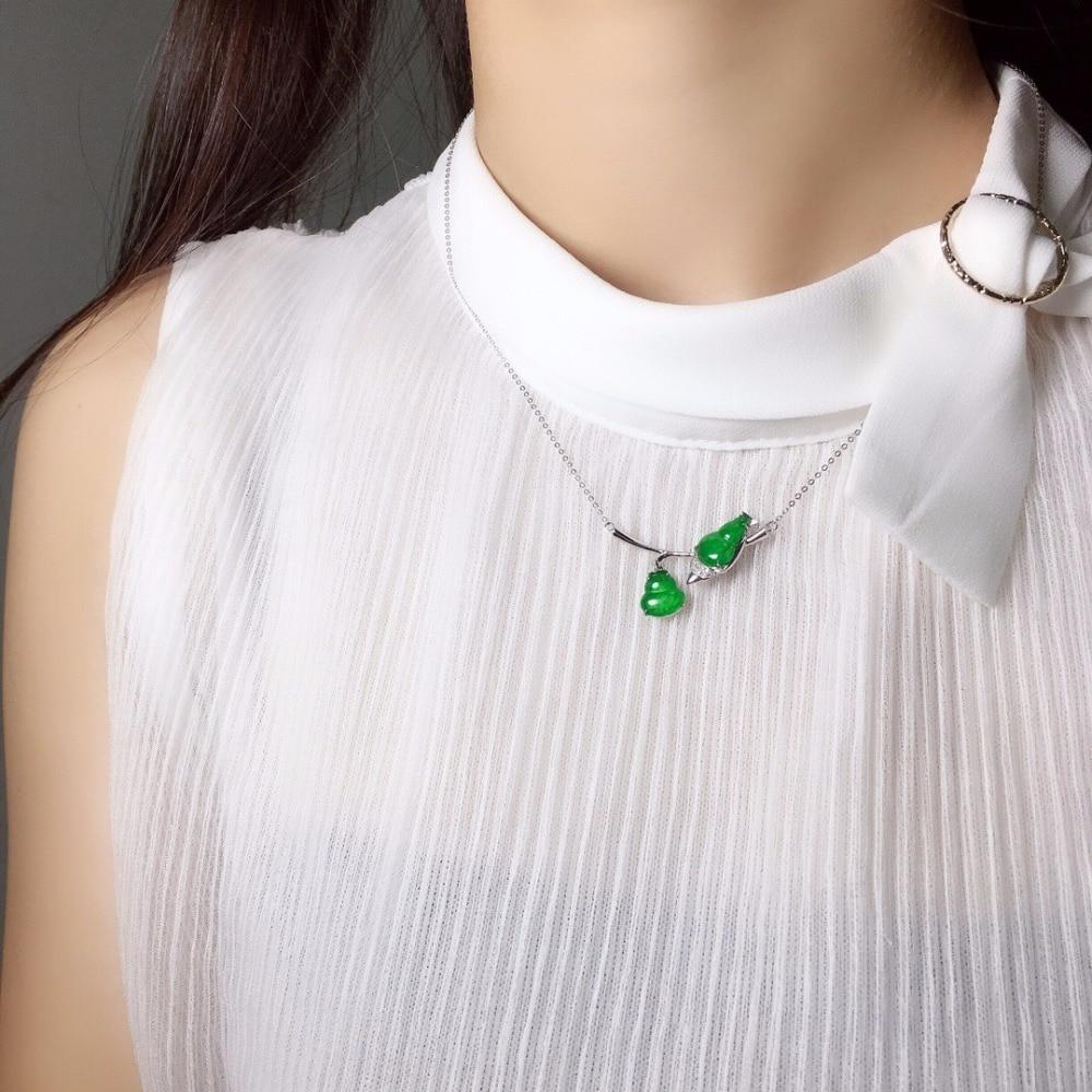 Fine Jewelry Real 18K white Gold AU750 100% Natural green Myanmer origin jade pendant neckalces for women colgantes mujer moda