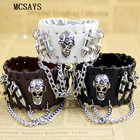 MCSAYS Rocker Punk Jewelry Stainless Steel Skull head and Bullet Decoration Leather Bracelet Hipster Gothic Bangle Accessory 4HD