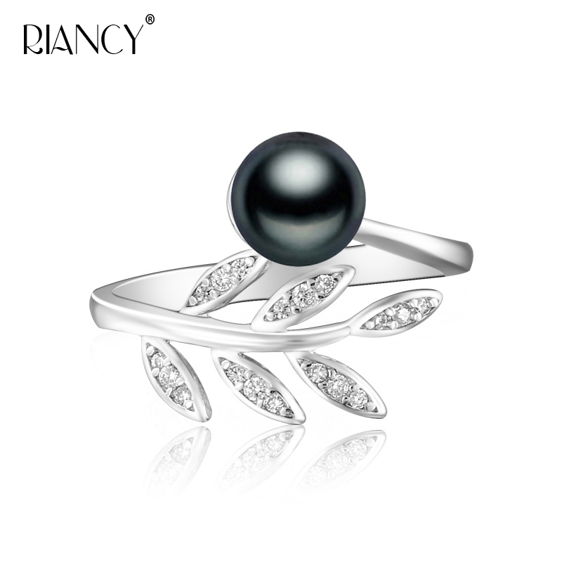 Fashion Natural Freshwater White Gray Black Pearl Ring Leaves Ring For Women Wedding/Party Gift