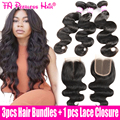 7a brasileño de la virgen del pelo humano onda del cuerpo 3 paquetes con cierre rosa queen productos para el cabello encierro tissage brésilienne avec paypal