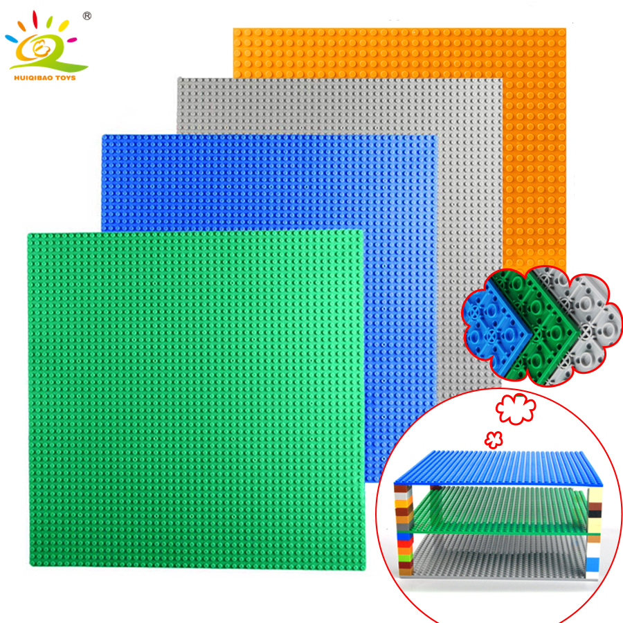 32*32 Dots Base Plate for Bricks Double-side Baseplate Board Compatible Legoed figure city DIY Building Blocks Toys For Children legoingly city road base plate straight crossroad curve t junction street baseplate building blocks bricks toys for children