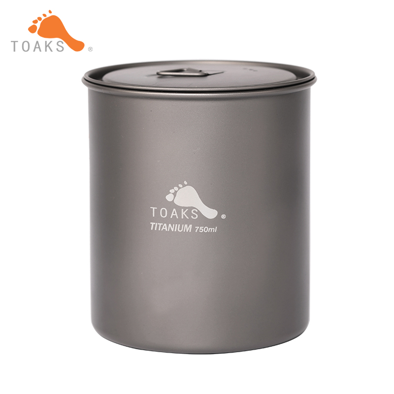 TOAKS pur titane Camping en plein air simple paroi tasse casseroles sans poignée pique-nique set ultra-léger 750 ml POT-750-NH