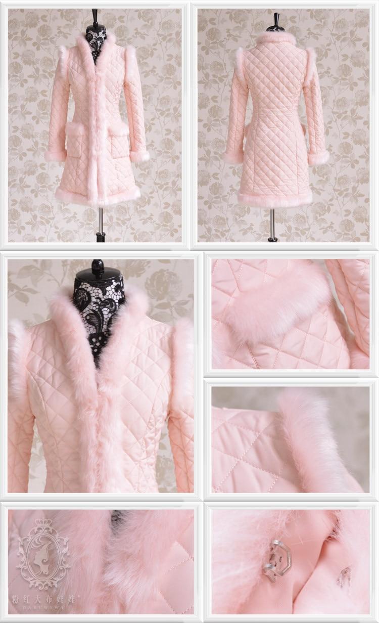 Long Gros Col V Parka D'origine En Mode Mignon Mince Veste Pink Hiver Femmes 0p1wP