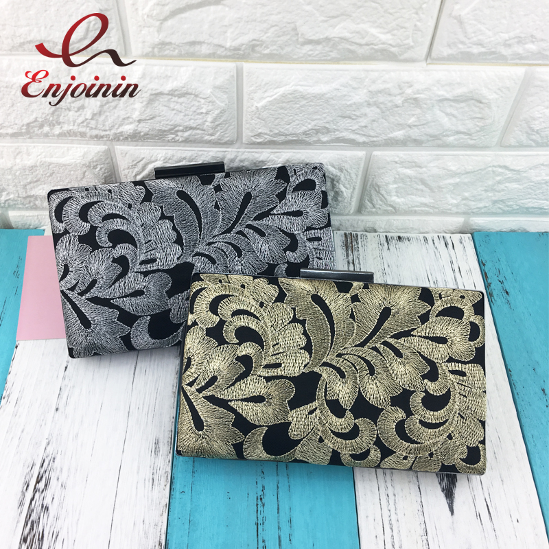 Vintage black embroidered flowers gold & silver wedding party clutch bag ladies handbag chain purse shoulder bag messenger bag vintage fashion letter book shape pu purse daily clutch bag ladies shoulder bag chain handbag crossbody mini messenger bag