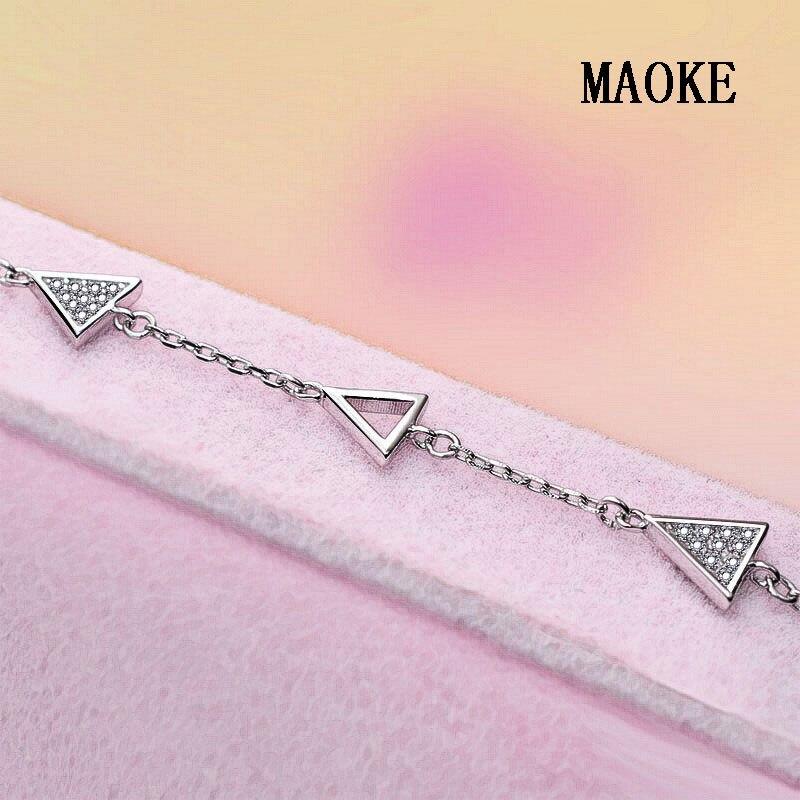 Promotion S925 Bracelet en argent Micro-incrusté Triangle chaîne Bracelet en argent Sterling bijoux de mode pour les cadeaux de mode des femmes - 5