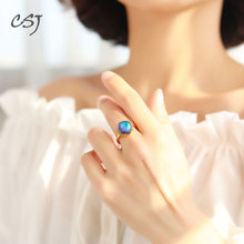 CSJ Mystic Aurora Ring Sterling 925 Silver Halo Crystal Color Changes for Woman Femme 2018 Party Elegant Fine Jewelry Gift