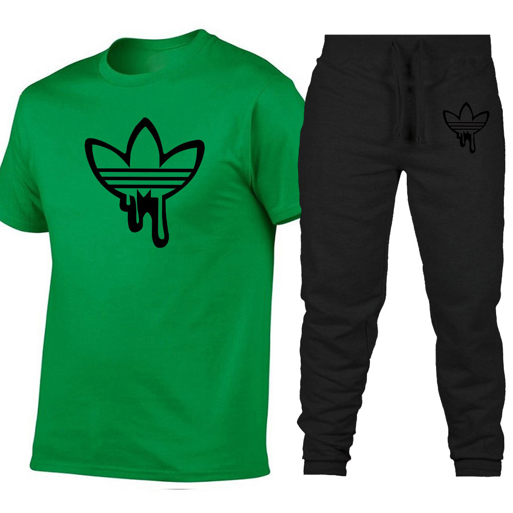 2019 Brand Adi Summer Sets Men T Shirts+Pants Two Pieces Sets Casual Tracksuit Male/Female Casual T Shirt Gyms Fitness Trousers