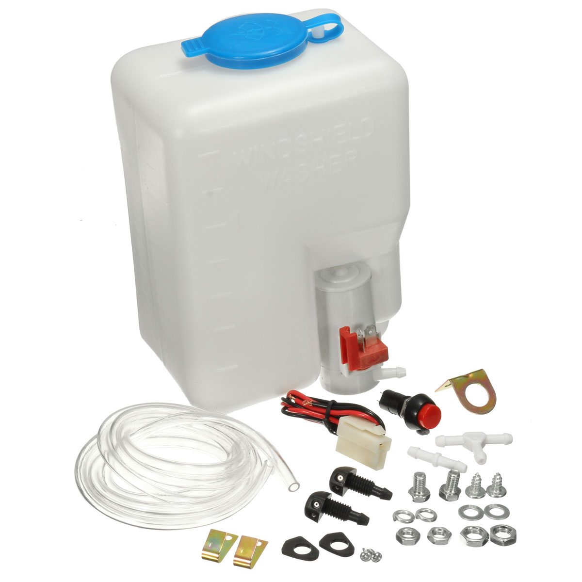 2016 Brand New 12V Universal Car Windscreen Washer Bottle Kit With Pump Jet Button Switch 160186