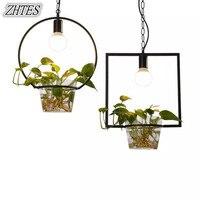 Modern Minimalist Led Pastoral Green Plant Restaurant Chandelier Lights Small Balcony Glass Lamp