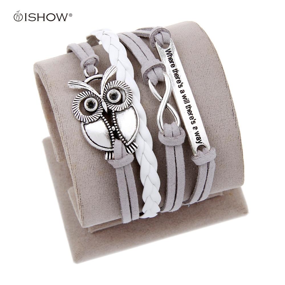 Antique Owl Engrave Epigram Charm Leather Bracelet Various Ss