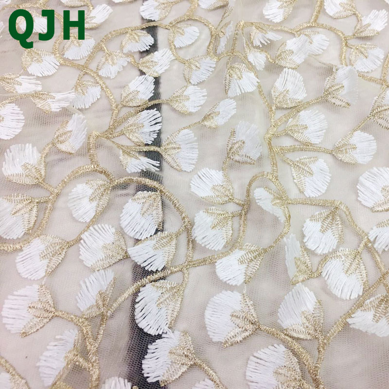 Image 5 - 5y Exquisite Gold thread 3D embroidery lace fabrics,High quality 
