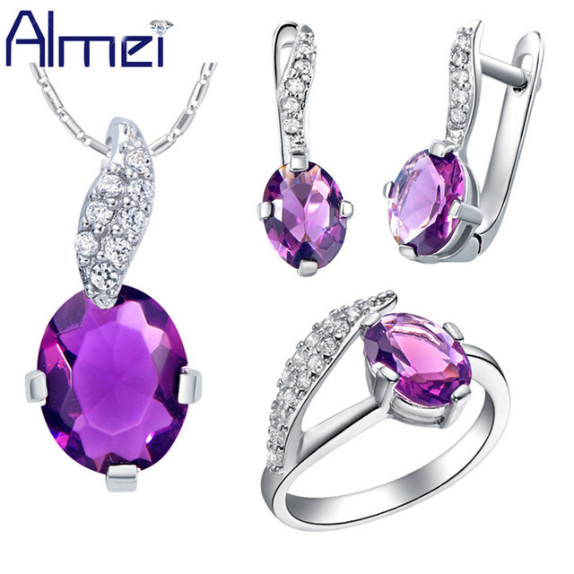 Almei 2017 African Beads Jewelry Sets Bridal Silver Color Fashion Blue Red Purple Crystal Ring Earring Necklace Wedding T222