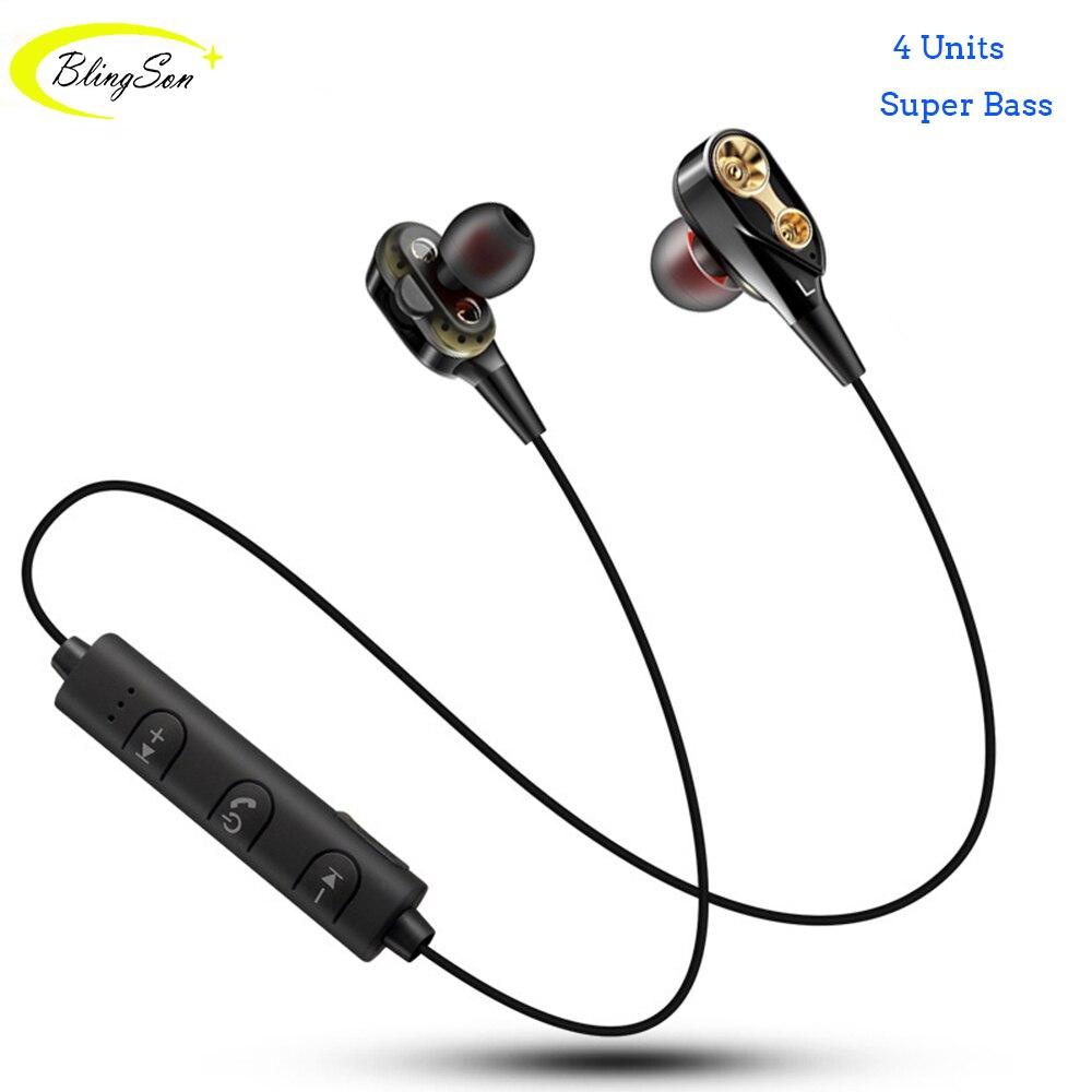 Wireless Headphone Bluetooth Earphone Headphone Neckband Sport Earphone 4 Units Stereo Sound Earbuds with Mic for