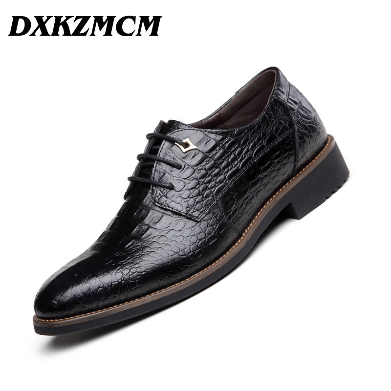 DXKZMCM Handmade Men Dress Genuine Leather Formal Business Oxfords Shoes Men's Flats for Party genuine leather heightening elevated oxfords men s formal business boots elevator 3 15 inches