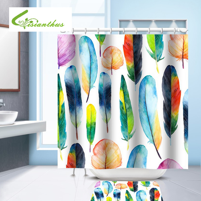 Waterproof Shower Curtain Tropical Plants Decorative Bath Curtain With 12  Hooks Colorful Feather Printed Home Bathroom