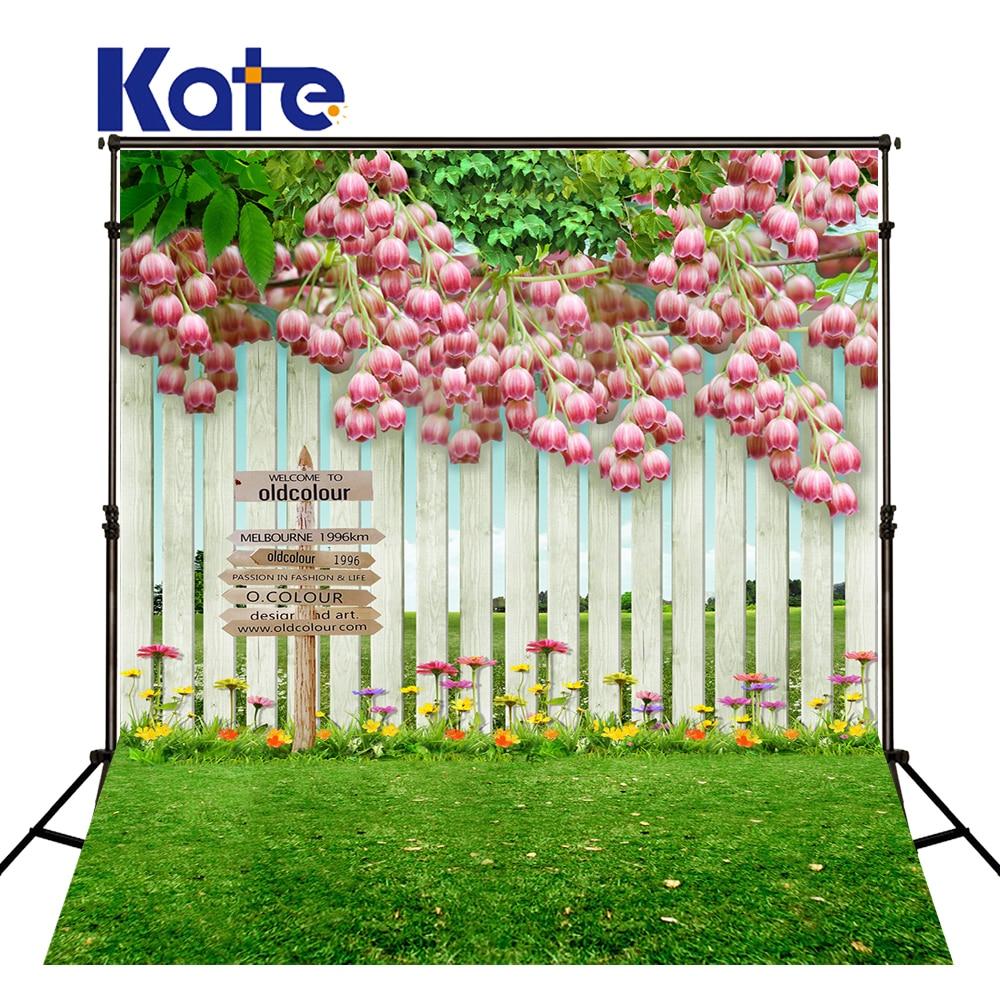 KATE Photography Background Scenery Spring Backdrop Spring Backdrops Green Grassland Garden Backdrops Flower Children Background
