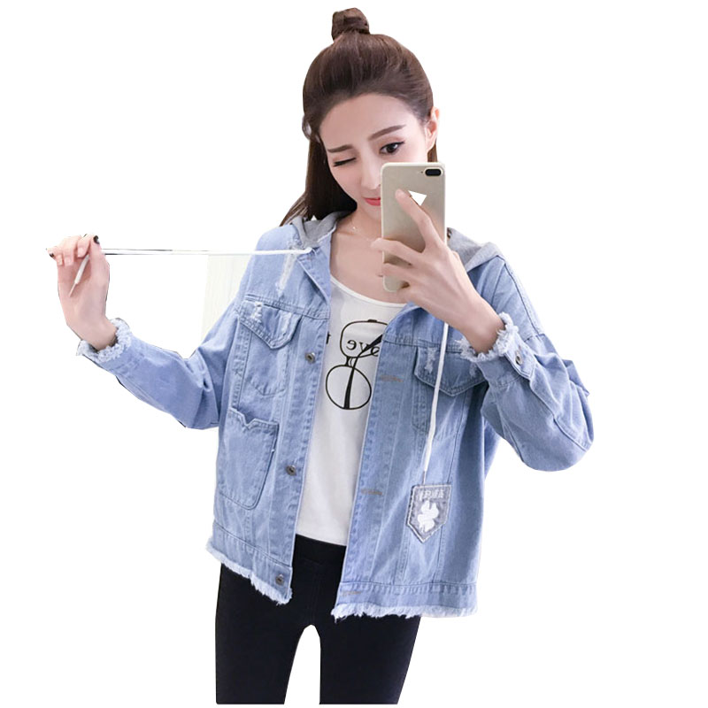 Denim   Jacket   Women 2018 New Jeans   Basic     Jacket   Coat Hooded Outwear Slim Short Overcoats cowboy Female Coats &   Jackets   NW655