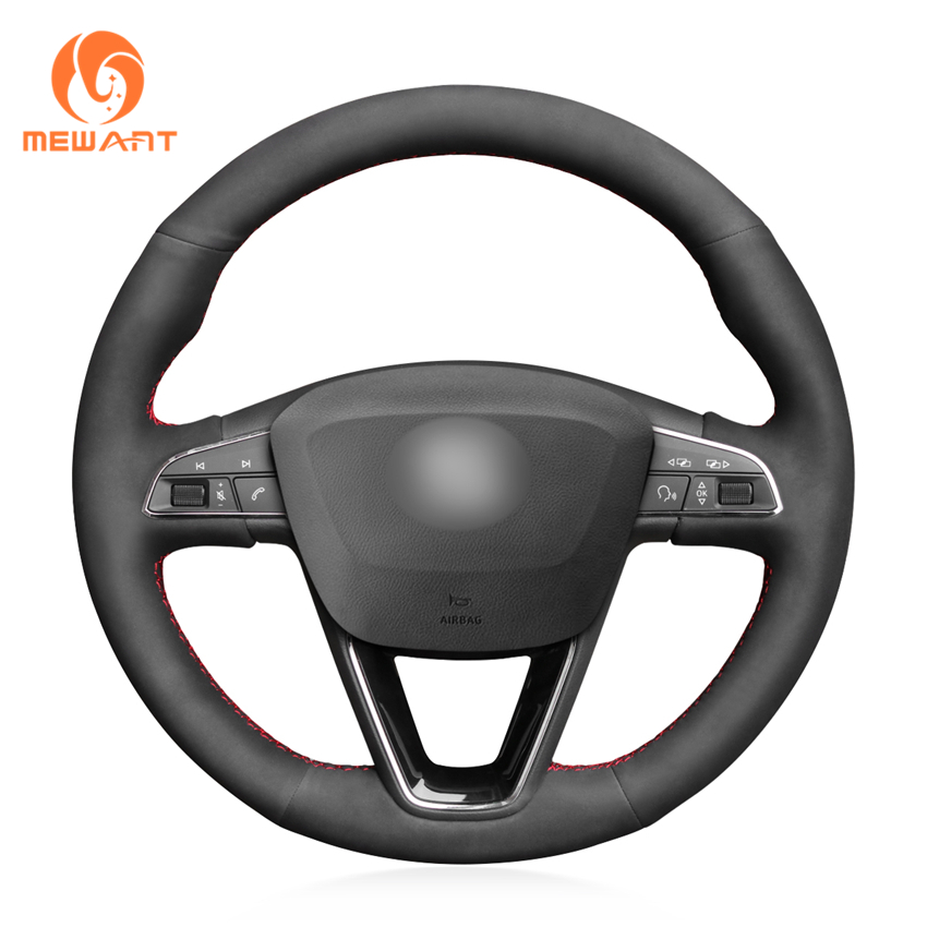 MEWANT Black Genuine Leather Suede Car Steering Wheel Cover for Seat Leon 5F Mk3 2013 2019