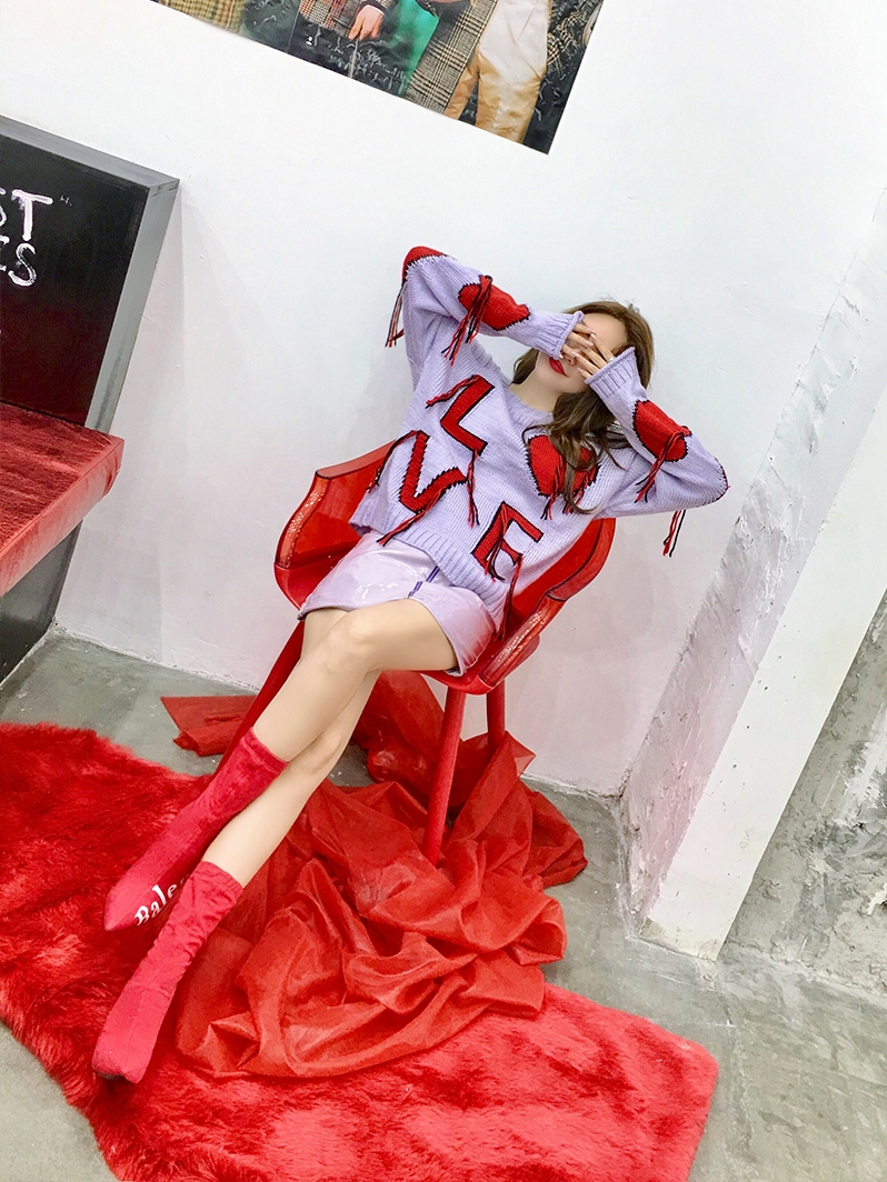 Di Completa E Lettere 2018 Reale Feminino Maglioni Vendita Allentato Maglie Poncho Blu Maglione Set Nappe Pigro Pullover lavanda n0PkNwOX8Z