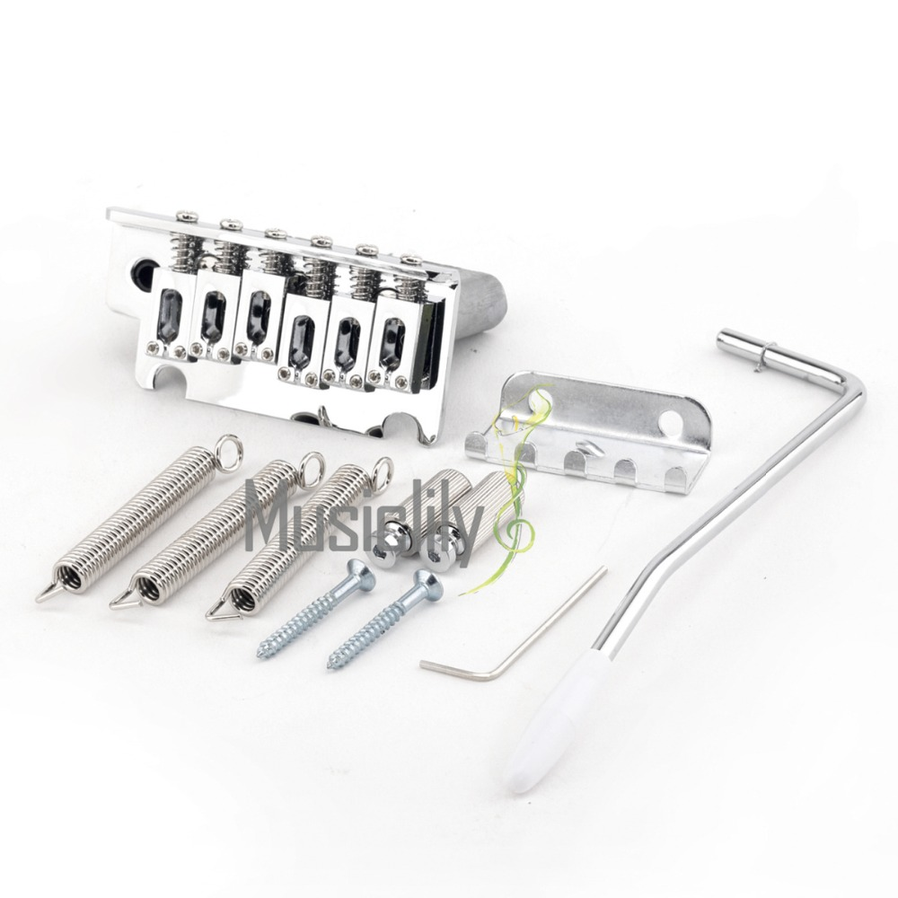 цены Musiclily Pro 54 mm Modern 2 Stud Tremolo Bridge Set for Strat ST Style Electric Guitar Parts, Chrome
