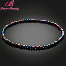 Lover Beauty Colorful Beads Magnetic Necklace weight Loss Hematite Jewelry Health Care Therapy Choker for Man