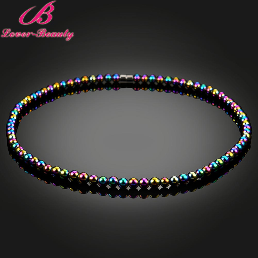 Lover font b Beauty b font Colorful Beads Magnetic Necklace weight Loss Hematite Jewelry font b