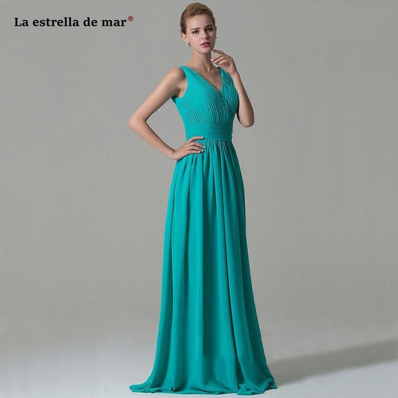 Vestidos de dama de honor mujer new chiffon sexy V-neck halter A Line Hunter   bridesmaid     dress   long brautjungfernkleid custom