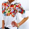 2016 New Design Floral Butterfly Printed Women Chiffon Blouses White Shirts Casual Office OL Spring Summer