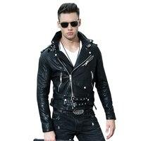 2018 Black Men Slim Fit Leather Motorcycle Jacket Diagonal Zipper Genuine Sheepskin Short Biker Leather Coat XXXL FREE SHIPPING