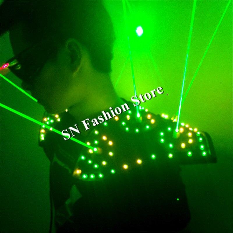 T16 1 яркая бальных танцев led костюм DJ Бар лазерный носит лазерные очки красный зеленый свет жилет стороны этап Дискотека реквизит