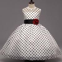 New Polka Dot Girls Dress Red Flower Sleeveless Kids Dresses For Girls Children Clothing Bow Weeding