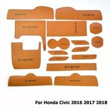 Di modo 16 pezzi/set Auto Porta Scanalatura Zerbino Per Honda Civic 2016 2017 2018 In Microfibra In Pelle antiscivolo Tazza Interna rilievo della tazza del Sottobicchiere