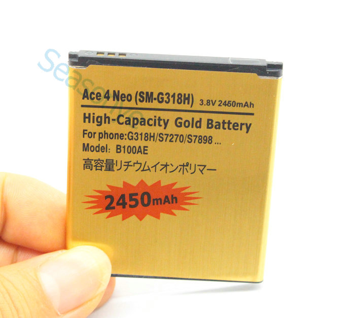 2450mAh B100AE EB-BG313BBE Gold Replacement Battery + Universal Charger For Samsung Galaxy Ace 3 ACE 4 Neo S7270 S7272 S7898 ect